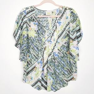 AnthroMaEve Pintuck Button Down Blouse